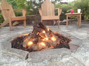 Hassle free propane fire pit and custom native stone sitting area