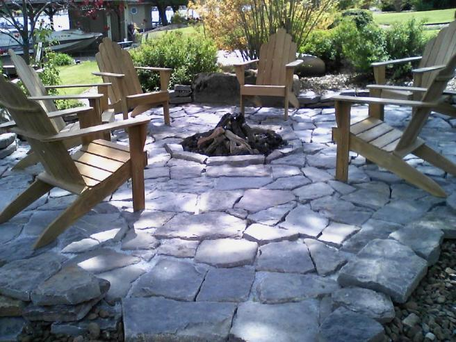 Native stone patio and propane fire pit