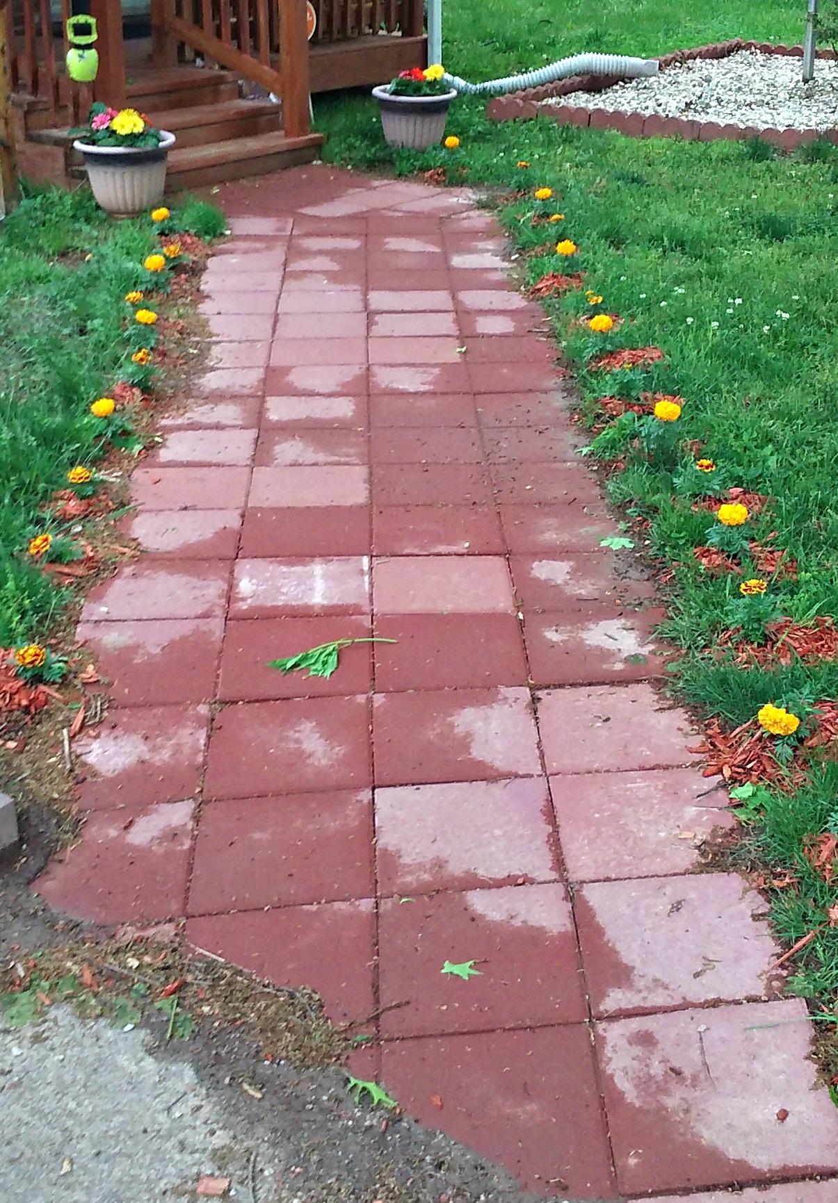 red paver walk way