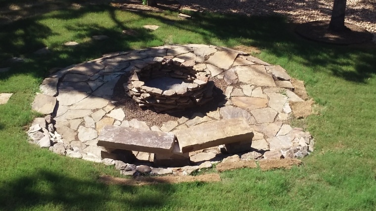 custom native stone fire pit