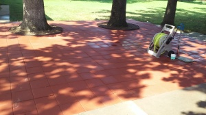 red paver walkway and sitting area