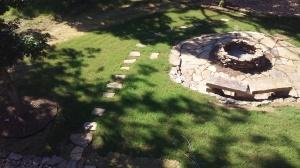 Native stone stepping path