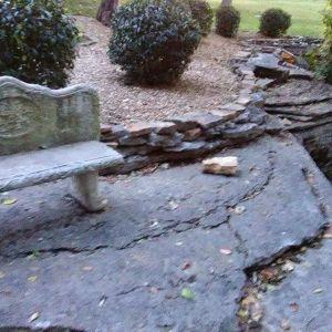 reinforced stone ledge sitting area